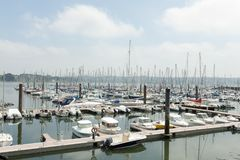 Brest, France 28 May 2018 Panoramic outdoor view of sete marina Many small boats and yachts aligned in the port. Calm water and. Blue cloudy sky stock photo