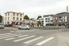 Brest, Francja 28 2018 Maj ulica budynków samochodu sklep Fotografia Stock