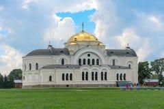 BREST, WEISSRUSSLAND - 28. JULI 2018: Heiliges Nicholas Cathedral Svyato-Nikolaevskiy Sobor im Brest-Festungs-Denkmal lizenzfreie stockfotografie