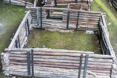 Brest, Wit-Rusland - Juli 28, 2018: Berestye Archeologisch Museum - de Slavische houten stad van het Oosten van 13de eeuw stock afbeeldingen