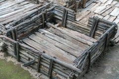 Brest, Wit-Rusland - Juli 28, 2018: Berestye Archeologisch Museum - de Slavische houten stad van het Oosten van 13de eeuw royalty-vrije stock foto's