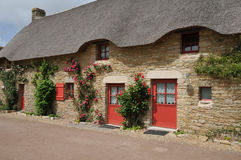 Bretagne, old thatched cottage in Saint Lyphard Stock Image