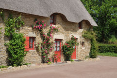Bretagne, old thatched cottage in Saint Lyphard Royalty Free Stock Photo