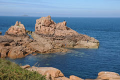 Bretagne, pink granit rocks in Ploumanach Stock Image