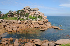 Bretagne, pink granit rocks in Ploumanach Royalty Free Stock Photography