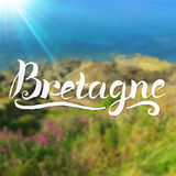 Bretagne-Sommerhintergrund mit von Hand gezeichnetem Lizenzfreie Stockbilder