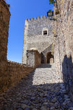 Bretelle d'accès à tour de guet du château médiéval de Castelo de Vide Photo stock