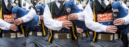 Breton bagpipe in panoramic. Breton bagpipe on parade in panoramic view Stock Photography