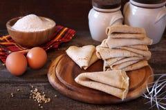 Breton buckwheat battercake. Breton buckwheat crepes and ingredients stock photography