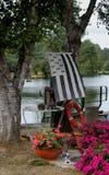 Breton flag on canal bank Stock Photo