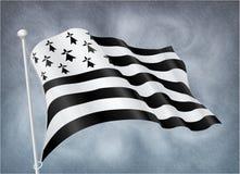 Breton flag on wind with rainy sky background Stock Photos