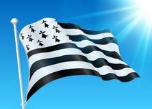 Breton flag on wind with sunshine and blue sky Stock Image