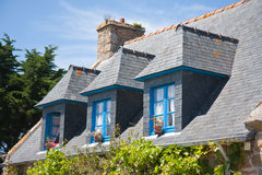 Breton house with typical dormers, France Stock Photos