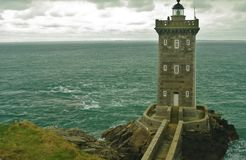 Breton lighthouse. At the pointe de kermorvan in france stock photos