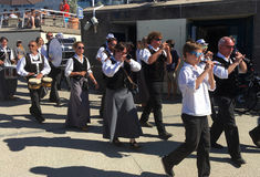 Breton musicians parade. In Cote d Armor in Brittany in west of France royalty free stock images