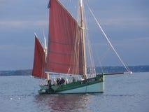 Breton`s sailboat at sea - Front view stock image