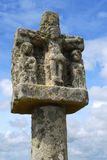 Breton stone cross. Near Tumulus Saint-Michel church in Carnac, South Brittany, France stock image