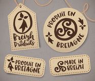 Breton vintage labels with signs in French, Produit en Bretagne, vector set Stock Image