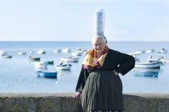 Breton women with headdress bigouden stock image