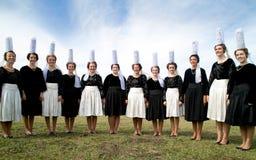 Breton women with headdress in brittany Royalty Free Stock Photo