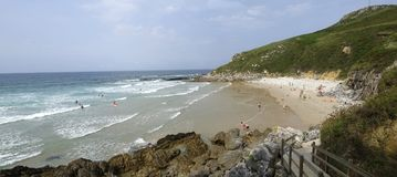Bretones beach in Asturias Stock Photos