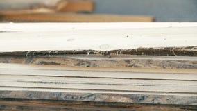 Brett in der Stapelholzindustrie stock video