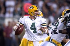 Brett Favre. As quarterback for the Green Bay Packers Stock Images
