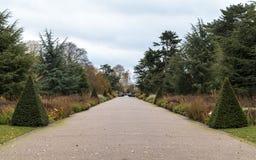 Brett gå av Kew trädgårdar i vinter/höst arkivbild