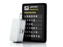 Brett- und Reisekoffer des Flughafens 3d auf weißem Hintergrund Stockfoto