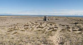 Bretterbude auf Strand des Oberen Sees Lizenzfreie Stockbilder