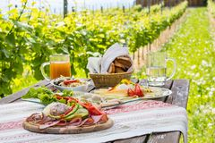 Brettljause,有膳食的冷的板材在木桌上在葡萄园里 库存照片