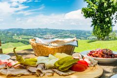 Brettljause with view over meadow to south styrian wine route Stock Images