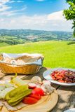 Brettljause with view over meadow to south styrian wine route Royalty Free Stock Image
