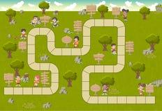 Brettspiel mit einem Blockweg auf einem grünen Park mit glücklichen Karikaturkindern lizenzfreie abbildung