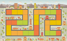 Brettspiel mit einer Stadt vektor abbildung
