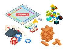 Brettspiele und Werkzeuge Verschiedene Werkzeuge für Brettspiele Würfelt, Pfand und andere stock abbildung