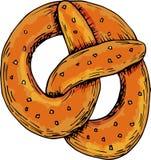 Bretzel allemand mou cuit au four pour la conception saisonnière et octoberfest illustration stock