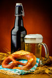 Bretzel and beer Stock Images