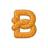 Bretzel de la lettre B symbole de police de casse-croûte Signe d'alphabet de nourriture Traditi illustration libre de droits