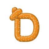 Bretzel de la lettre D symbole de police de casse-croûte Signe d'alphabet de nourriture Traditi illustration libre de droits