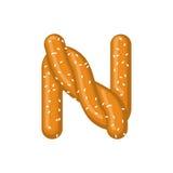 Bretzel de la lettre N symbole de police de casse-croûte Signe d'alphabet de nourriture Traditi illustration libre de droits