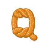 Bretzel de la lettre Q symbole de police de casse-croûte Signe d'alphabet de nourriture Traditi illustration libre de droits