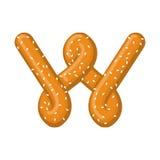 Bretzel de la lettre W symbole de police de casse-croûte Signe d'alphabet de nourriture Traditi illustration libre de droits