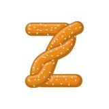 Bretzel de la lettre Z symbole de police de casse-croûte Signe d'alphabet de nourriture Traditi illustration libre de droits