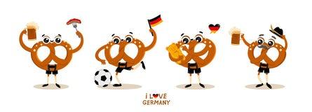Bretzel traditionnel allemand Brezel de personnage de dessin animé de nourriture dans des vêtements nationaux Photos stock