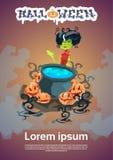 Breuvage magique de ébullition de Halloween de bannière d'invitation de sorcière heureuse de carte illustration libre de droits