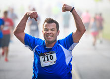 BREVARD, NC-MAY 28, 2016 -Athlete Russel Wagner of Atlanta, GA, runs in the White Squirrel Race with over 350 runners in Brevard, Royalty Free Stock Image
