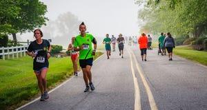 BREVARD, NC-MAY 28, 2016 - Opłakiwać mgłę otaczał biegaczów w Białej wiewiórki rasie w Brevard, NC 2016 Rasa sponsorują obok Obrazy Stock