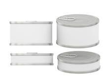 Breve barattolo di latta in bianco bianco cilindrico dell'etichetta con la linguetta di tirata, clip Immagini Stock