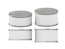 Breve barattolo di latta bianco cilindrico dell'etichetta con la linguetta di tirata, p di taglio Fotografia Stock Libera da Diritti